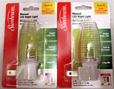 2 Plug In Manual LED Night Lights With ENERGY SAVING Bulb Included NEW Set of 2