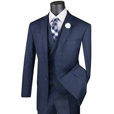 VINCI Men's Navy Blue Glen Plaid 3 Piece 2 Button Classic Fit Suit NEW