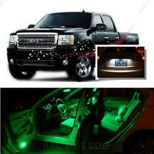 For GMC Sierra 1500 2500 2007-2013 Green LED Interior Kit +White License Light