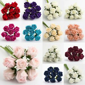 3cm Mini Foam Roses With Wire 8 Stem Bunch Fr Wedding Craft Colourfast UK Seller