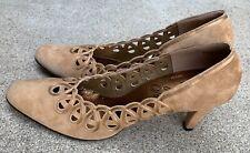 Vintage Tjm Suede Pumps High Heel Shoes 7 1/2 N