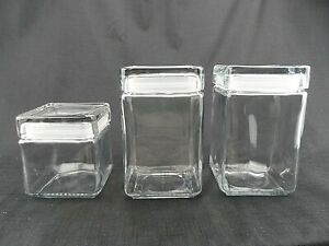 Lot 3 Anchor Hocking Stackable Square Glass Canister Jars w Silicone Sealed