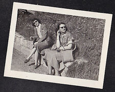 Antique Vintage Photograph Two Women in Sunglasses Sitting on Stone Wall