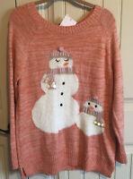 Lauren Conrad XL Fuzzy Snowmen Orange Pink Long Sleeve Sweater Tunic NWT