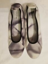 Arche White Gray Leather Ballet Flats Slip-On Shoes Size US 7 EU 38