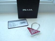 Gorgeous Authentic PRADA Pink Triangle Logo Keyring / Bag Charm BNIB
