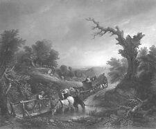 GAINSBOROUGH Landscape & HORSE CART IN FOREST ~ Antique 1849 Art Print Engraving