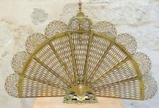 Antique French Castle Fireplace Folding Screen Eventail Fan Bronze & Brass Rare