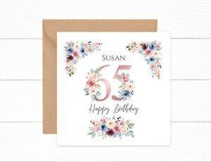 Personalised 65th Birthday Card Pink Floral Nan Auntie Mum Grandma Friend