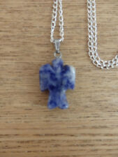 Mini Carved Guardian Angel Crystal Gemstone Healing Reiki Pendant Necklace