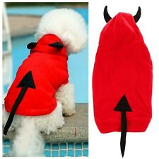 FLEECE DOG RED DEVIL COSTUME COAT FANCY DRESS  FREE UK P&P