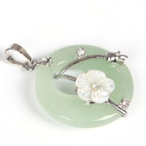 Handmade Genuine Green Agate Carved Shell Gems Silver Flower Necklace Pendants