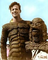 """RICOU BROWNING CREATURE FROM THE BLACK LAGOON 11x14"""" HAND COLOR TINTED PHOTO"""