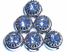 6 - 2 HOLE SLIDER BEADS 7mm LT SAPPHIRE AUSTRIAN CRYSTAL DOMED CROWN SPACER