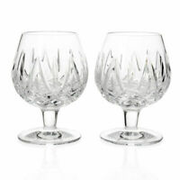 Waterford Crystal Fitzgerald Set of 2 Wedge Cut Footed Brandy Balloon Glasses