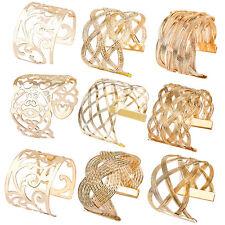 Charm Chic Ladies Luxury Gold Plated Bangle Cuff Hollow Fashion Bracelet Jewelry
