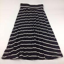 "Cherokee S 6X 26"" Long Maxi Skirt Stretch Waist Summer Beach Black White Striped"