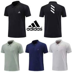 Adidas Mens Polo Shirt Golf Sports Short Sleeved Collared Tops T-Shirt Casual