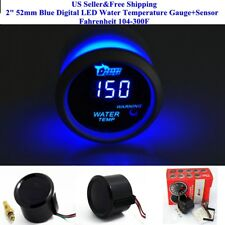 "US 2"" 52mm Blue Digital LED Water Temperature Gauge+Sensor Fahrenheit 104-300F"