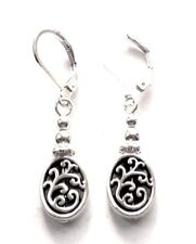LOVELY LITTLE ANTIQUE SILVER OVAL LEVERBACK EARRINGS - WITH ORGANZA GIFT BAG