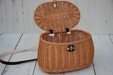 Hand Made Wicker Fishing Creel/ Picnic basket