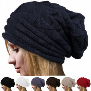 Men Women Knitted Baggy Beanie Oversize Winter Warm Hat Ski Slouchy Outdoor Cap
