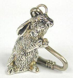 925 Sterling Silver Electroforming HandMade Bunny Key Ring Key Holder Chain