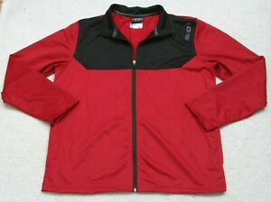 And 1 Red Black Polyester Zipper Front Jacket Coat Solid Men Mans Size Large