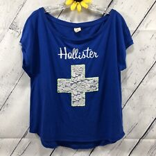 HOLLISTER Loose Fit T-Shirt Womens Size M Stretch Short Sleeve Cross Blue dt4349