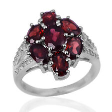 Oval Cut Garnet Gemstone Statement Split Shank Cluster Women CZ Ring 925 Silver