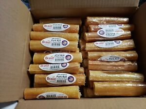 15 BRAVO! Pork Roll Chews for Dogs 100% All Natural Made in America PIG CHEWS