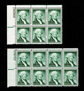 U.S. PLATE BLOCKS OF 6 AND 8 SCOTT #1031 WASHINGTON 1¢ MNH-OG 1954