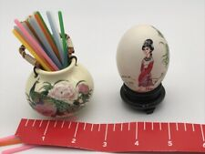 Vintage Japan Japanese Toothpick Holder Basket Hand Decorated Egg Signed Lot