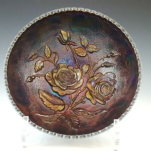 Imperial 'Open Rose' Amethyst Iridescent Carnival Glass Bowl