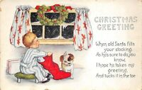 Christmas Greetings 1920s Postcard Boy And Red Stocking Do Wreath
