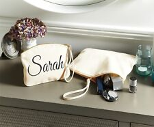 Personalised Wristlet Make Up Wash Bag Toiletry Canvas Birthday Christmas Gift