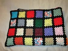 Vintage Hand Crochet Granny Square 55 x 79 Afghan Throw multicolor black