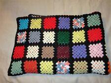Vintage Hand Crochet Granny Square 55 x 79 Afghan Throw multicolor black