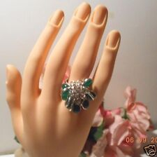 Silver and  green real Onyx cluster ring