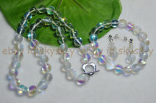 Faceted 10mm White Gleamy Rainbow Moonstone Gems Beads Nacklace Bracelet Earring