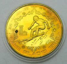 CHINA 1 YUAN 1980 LAKE PLACID OLYMPICS SPORT SKIING UNC BRONZE COIN
