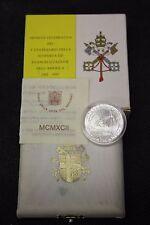 VATICANO 1992 MONETA IN ARGENTO FDC da 500 LIRE EVANGELIZZAZIONE AMERICA