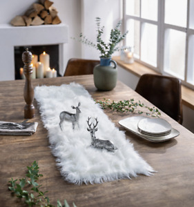 Tischläufer Weiß Felloptik Chalet Tischband Tischdecke Hingucker 120 x 30 cm