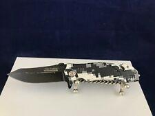 Tac-Force Speedster pocket knife White Camo with belt clip and liner lock