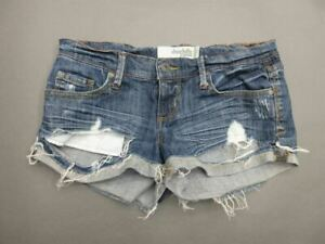 CHARLOTTE RUSSE SIZE 2 WOMENS BLUE STRETCH CASUAL CUT-OFF JEAN SHORTS T412