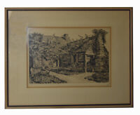 "12"" Original W. R. Locke Etching Old Schoolhouse St. Augustine Florida Print"