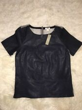 NWT J Crew Collection Leather Front Top Navy Sz S Retail $345 #04320