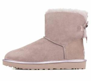 UGG Australia Damen Boots Bailey Bow Metallic II Gr 38 Echtleder Lammfell NEU