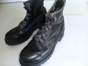 Sketchers Vintage Black Combat Punk 90s Lace Up Heeled Boot Leather Size 7