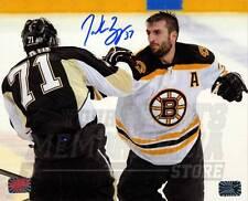 Patrice Bergeron Boston Bruins Signed Autographed Fight vs Penguins Malkin 8x10